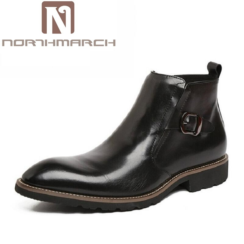 NORTHMARCH Men Boots Winter Warm Snow Business Black Boots Men Shoes Footwear Male Rubber Winter Working Combat Ankle Boots new men winter boots plush genuine leather men cowboy waterproof ankle shoes men snow boots warm waterproof rubber men boots