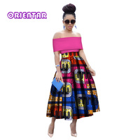 Summer Woman Long Maxi Skirt for Women African Dashiki for Women Bazin Riche Robe longue femme Plus Size Top and Skirt WY2848