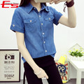 Women Denim Shirt Fashion 2017 Summer Short Sleeve Camisa Jeans Feminino Vintage Blue Jeans Blouses And Tops Plus Size Blusa