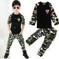 2 PCS Camuflagem tops + calças de algodão T shirt das meninas dos meninos treino meninos roupas de bebê roupa dos miúdos meninas para 2 3 5 6 8 9 anos meninos