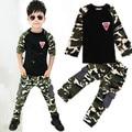 2 UNIDS Camuflaje tops + pants camiseta de algodón niños niñas bebés ropa chándal ropa de los niños niñas de 2 3 5 6 8 9 años los niños