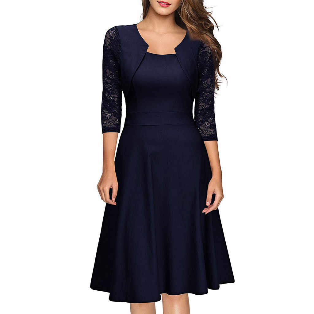 Elegant Office Lady Work Dress Women Vintage Lace Three Quarter Length  Sleeve Fit And Flare Dress 4f48249c6831