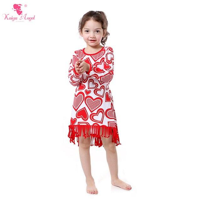 Kaiya Angel Valentine s Girls Dress Tassel Kid Dresses Full Sleeve Heart  Valentine s Baby Girl Dresses Cotton Belt Party Dress 21728948d