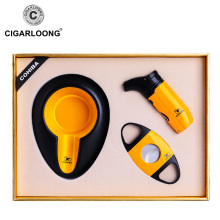 CIGARLOONG Portable cigar ashtray cutter lighter set sharp stainless steel knife 3 sets CQ-4001