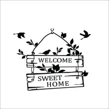 Hot Delightful Removable Welcome Sweet Home Little Tree Sign Bedroom Living Room Decor Wall Sticker hot sale welcome sweet home wall sticker for living room