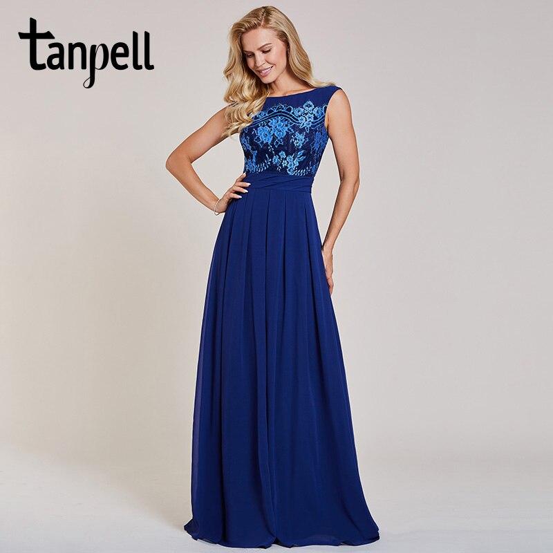 Tanpell Appliques Evening Dress Dark Royal Blue Bateau Neck Sleeveless Floor Length A Line Gown Women Formal Long Evening Dress