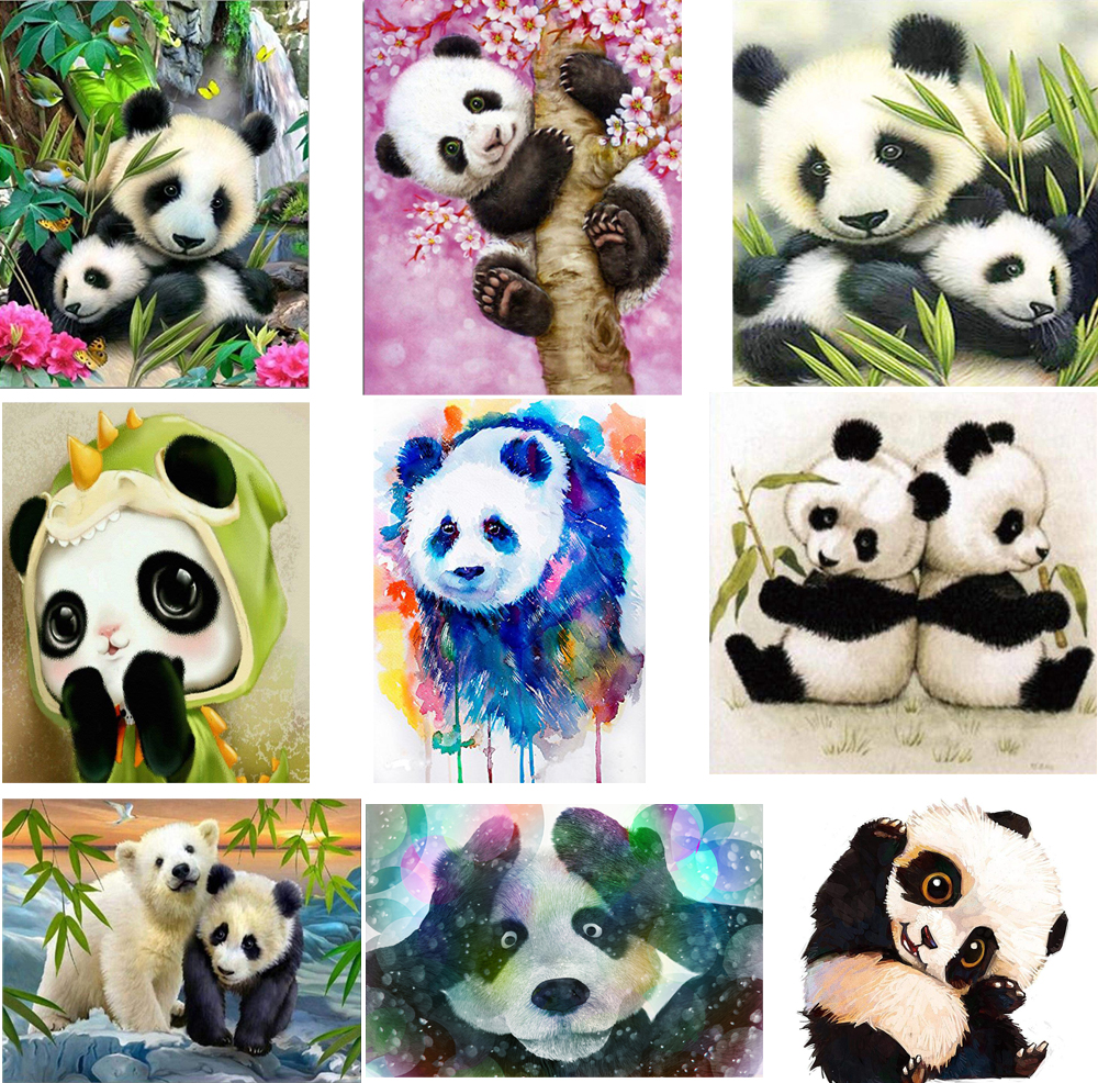 5D DIY Crystal Diamond Paintings Full Square/Round Pandas Animal Cross Stitch Kits Rhinestones Embroidery Mosaic Decoration Home5D DIY Crystal Diamond Paintings Full Square/Round Pandas Animal Cross Stitch Kits Rhinestones Embroidery Mosaic Decoration Home