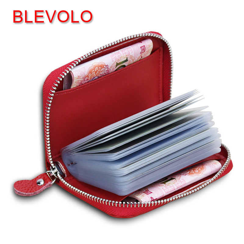 BLEVOLO New Plaid Women Credit Card Package Purse Real Leather Business Cards Holder Zipper Men PVC ID Card Cover Small Wallet