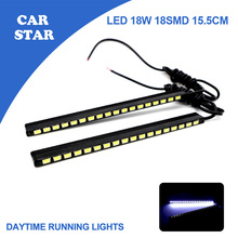 Free Shipping 2PCS/SET Daytime Running Lights Car Auto LED DRL 2*9W 18SMD 5730 15.5CM Ultra White 100% Waterproof DRL High Power