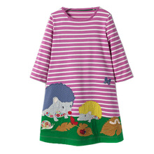 Princess Dress 2017 Brand Baby Girls Dresses with Animal Appliques 100% Cotton Casual Tunic Children Dress Kids Clothes Vestidos