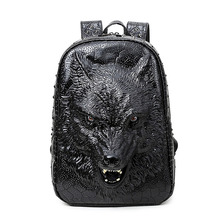 2016 nouveau style sacs à dos 3D tête de loup sac à dos spécial cool épaule sacs pour adolescent filles PU ordinateur portable en cuir sacs d'école