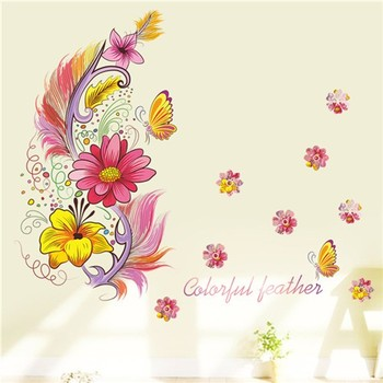 Colourful 3D Vivid Feather Butterfly Birds Flower wall stickers home decoration living room pvc wall decals diy mural art poste 10