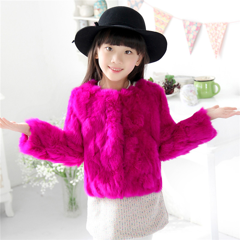 2017Children Rabbit Fur Coat Girls Autumn Winter Warm Thick Short Outerwear Coats Kids Rabbit Fur Solid Coats Short Clothing C#7 korean baby girls parkas 2017 winter children clothing thick outerwear casual coats kids clothes thicken cotton padded warm coat