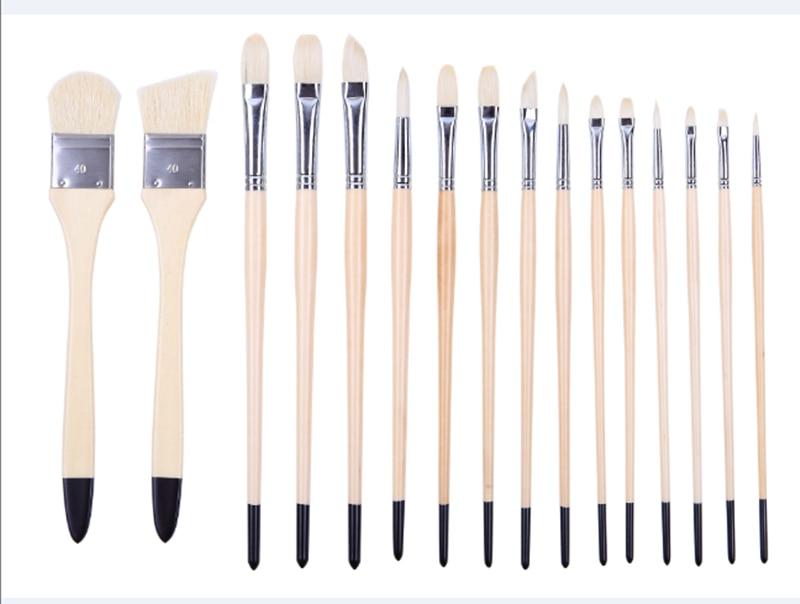 2296 Acrylic And Oil Brushe 16PC/Set Hog Bristle Hair Wooden Handle Brush Set