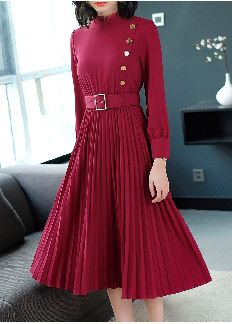 Latest Womens Fashion Clothing Dresses: 2018 New Design Women's Fashion Pleated Red Dresses Girls