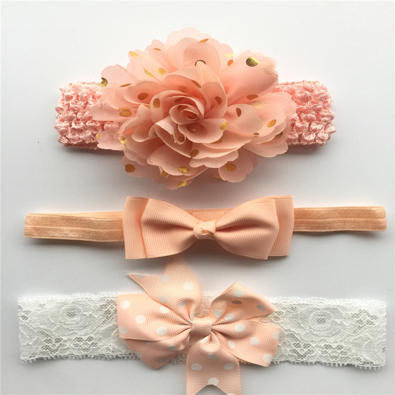 где купить 3Pcs/Set Baby Girls Nylon flower Headband lace flowers Hair Bows Elastic Hairband for Bebe Kids Children Hair Accessories по лучшей цене