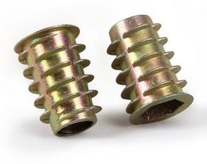 Image 1 - 100 Pçs/lote M4 M5 M6 M8 Nozes Móveis Liga de Zinco chapeado Thread Para Inserção de Madeira Porca Flangeada Hex Head Drive
