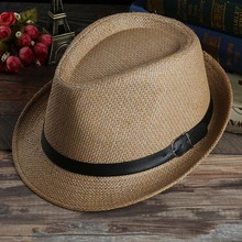 1PC Korean Fashion Spring/Summer Multicolor Unisex Couple Jazz hat Panama Gangster Cap Weave Beach