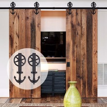 LWZH 14ft/15ft Sliding Door Anchor -Shaped with Big Rollers Black Steel Sliding Closet Rail Track Hardware Kits for Double Door