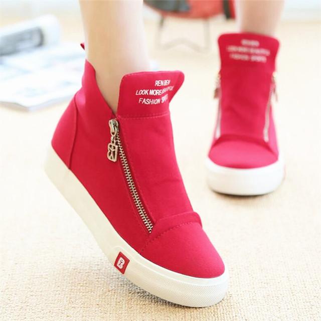High Top Moda Mujeres Zapatos Casual Cuñas Blancas Zapatos de Lona Femeninos Canasta Cremallera Sólido Chaussure Femme de Deporte