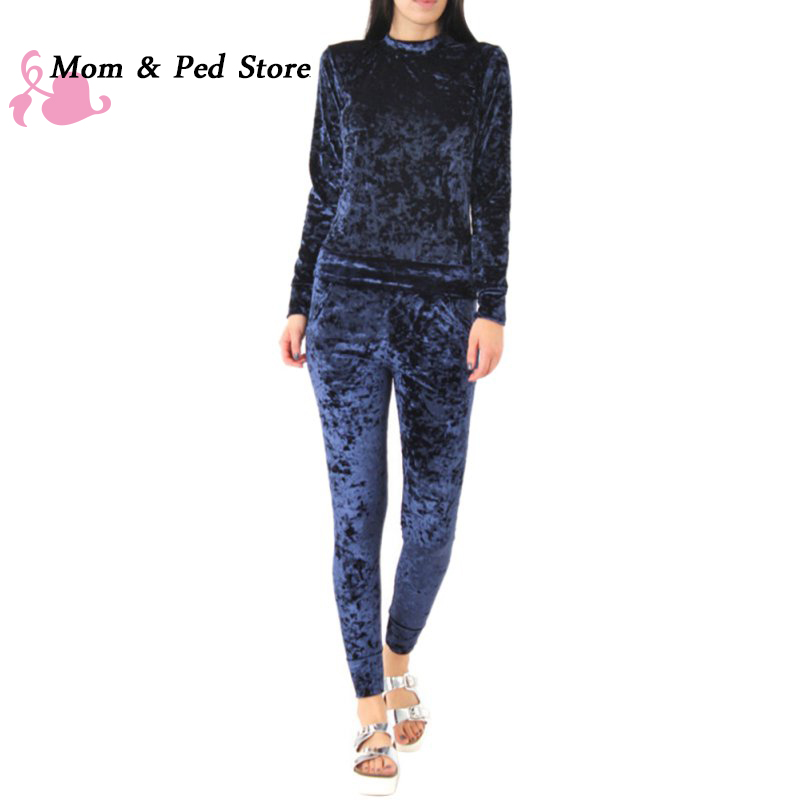 Ladies Women Velvet Velour Top and Jogger 2 Piece Set Loungewear Tracksuit Touse