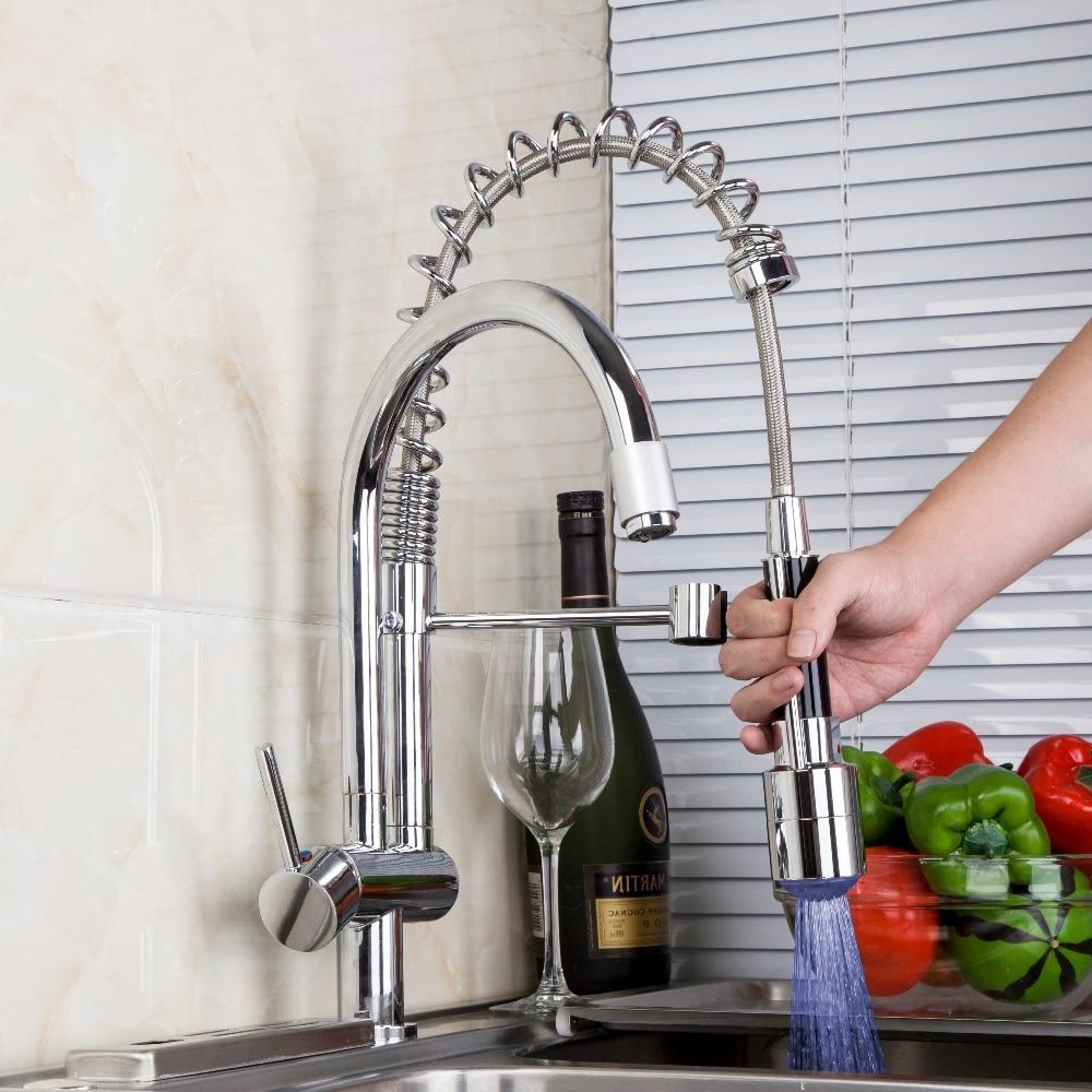 Led Kitchen Faucets | Aliexpress Com Buy Yanksmart Kitchen Faucet Double Spouts Led