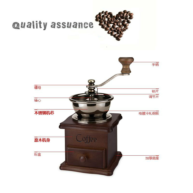 Retro European Coffee grinder Grinder Household Portable stainless steel Non-electric Coffee beans coffee powder travel officeRetro European Coffee grinder Grinder Household Portable stainless steel Non-electric Coffee beans coffee powder travel office