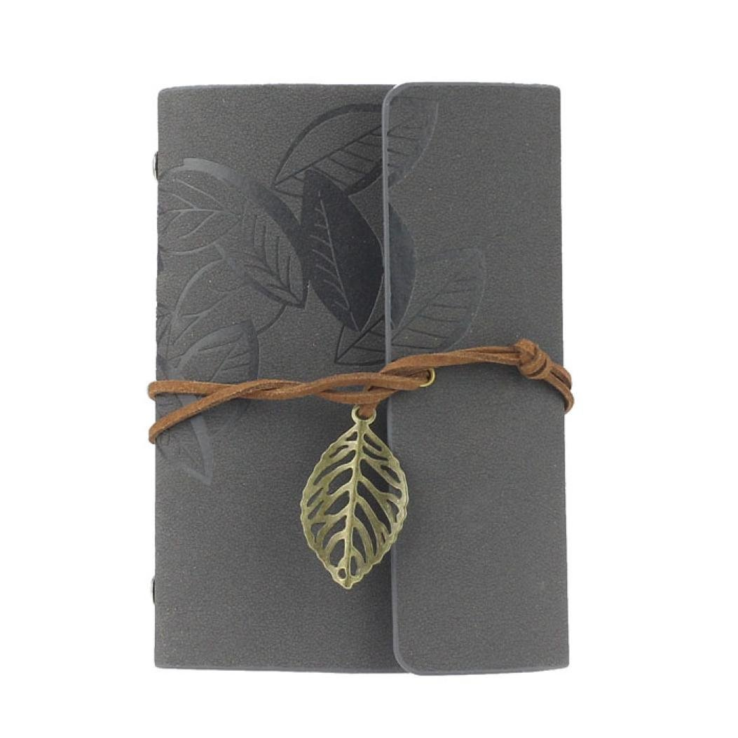 Vintage Leaf PU Leather Cover Loose Leaf Blank Notebook Journal Diary Pocket Size (Gray) leaf