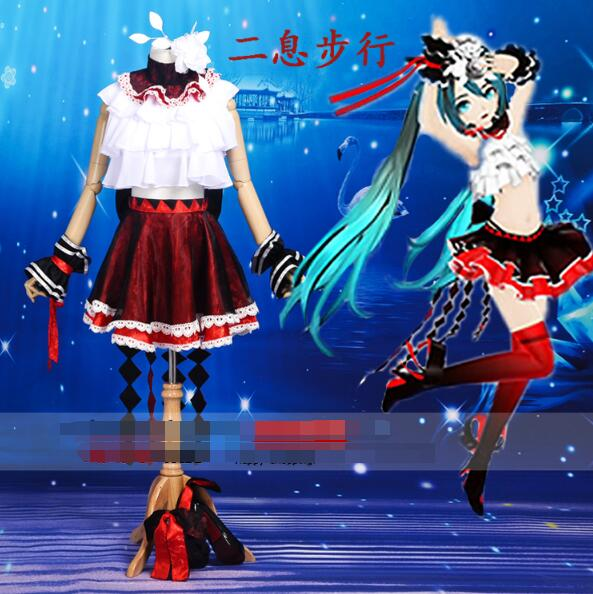 Anime VOCALOID cosplay Hatsune Miku cos Wave jacquard Fight song clothes cosplay Halloween Christmas Masquerade costume
