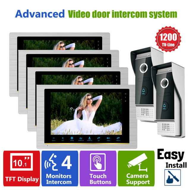 Homefong Door Access Control Video Door Intercom Phone System Doorbell Cameras 2  Home Office 4 LCD 10 Inch Monitors HD 1200TVL