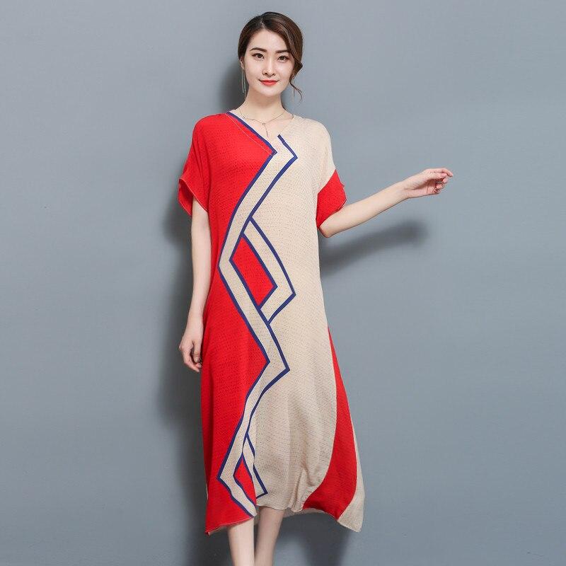 2018 New Summer Women Long dress Short Sleeve Print Loose Milan Silk Kamilan Card Dresses Design And Color 8872