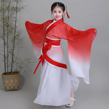 Children's Elegant Zither Stage Costume Girls Classical Dance Costume Fairy Princess Ancient Chinese Hnafu for Tang Dynasty Suit