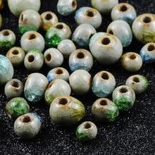 Wlyees 6 a 10mm misturado azul/amarelo/verde gelo crack porcelana espaçador grânulos soltos charme contas feitas à mão ajuste pulseira de jóias fazendo