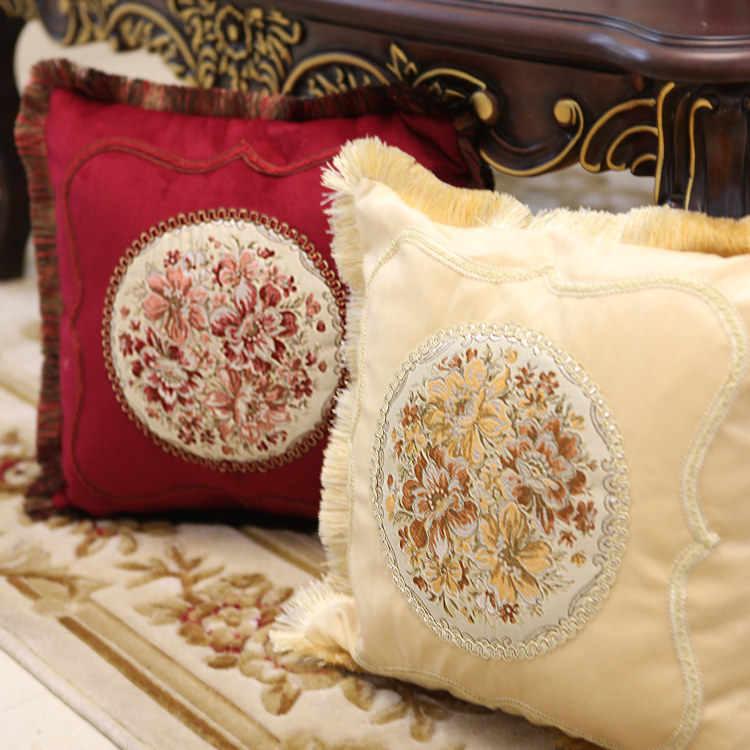 Классическая подушка в европейском стиле, чехол из шелковой ткани, вышитая кровать, Модная европейская наволочка Подушка покрывало