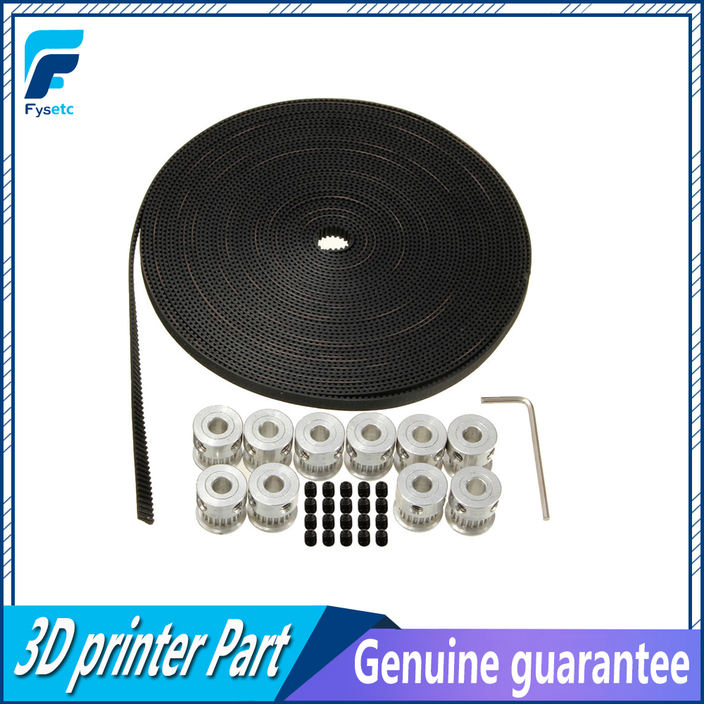 2M Length GT2 Timing Belt +2pcs  GT2 Pulley 16Teeth Bore 5mm Synchronous Wheel For 3D Printer Parts Prusa