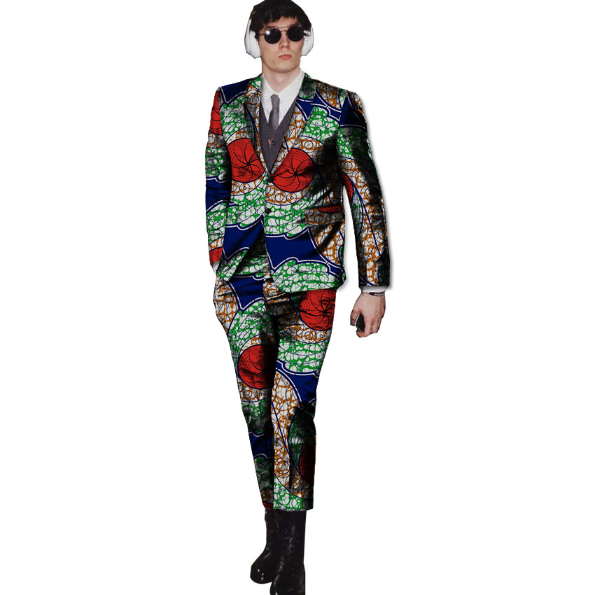 New arrivals wax mens African suits Ankara print dashiki suits man blazer with pant 2 pieces for wedding Africa clothing