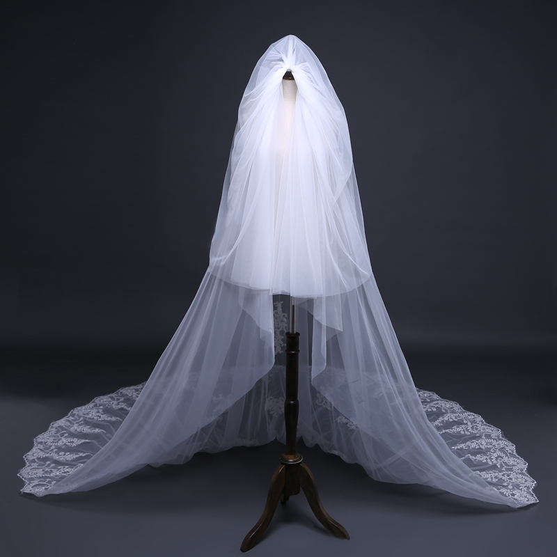 Fashion White  Meter Lace Bridal Veil Veu De Noiva Sexy Wedding Accessories  Plus Size Wedding Veil Voile Mariage In Bridal Veils From Weddings