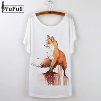 New Designer Fox Print T Shirt Women Camisetas Feminina Tee Shirt Femme Harajuku T Shirt Batwing