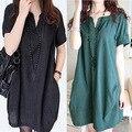 Plus Size Vestidos de Maternidade Verão Novo Ocasional Coreano Pontos de Linho Com Decote Em V Roupas Gravidez Maternidade Roupas para Mulheres Grávidas