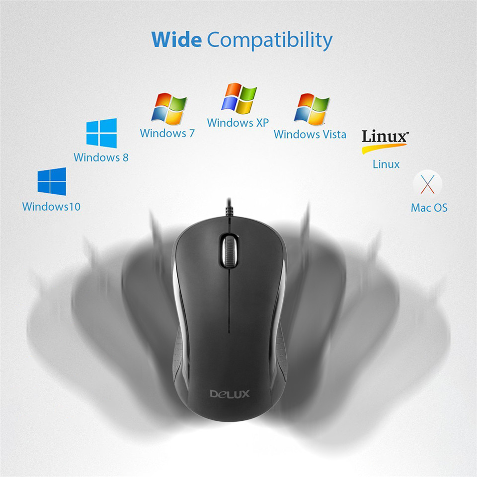 Delux M391 USB Wired Mouse 1000 DPI Quick Click Optical Mouse Matte ...