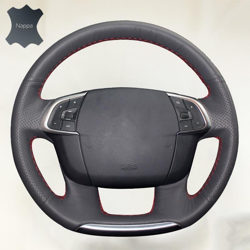 Car steering wheel cover for Citroen C4 C4L 2011-2015 DS4 Do Not Fade handlebar braid on the Steering Wheel car steering wheel cover diameter 36cm 38cm 40cm wholesale supply do not fade handlebar braid leather steering wheel