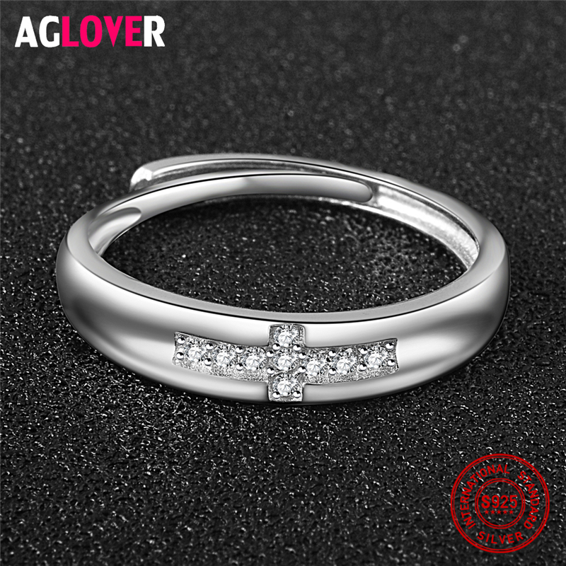 925 Silver Ring Unisex Fashion Simple Inlaid AAA Crystal Zircon Cross Men Women Ring 100 Sterling Silver Brand Jewelry in Rings from Jewelry Accessories