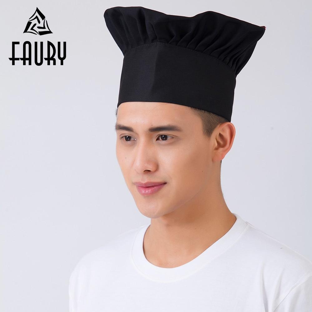 Men Women Cooking Cap Cafe Restaurant BBQ Kitchen Cook Hat Working Cap Chef Hat Cloth Plaid Solid Plain Hat Black Red White