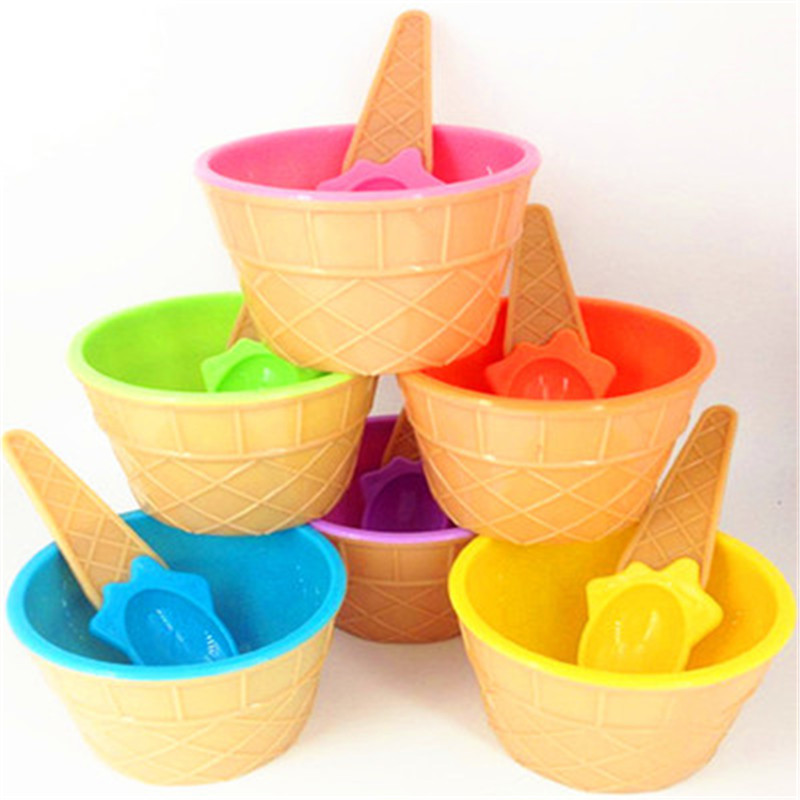 1Set Ice Cream Bowl Spoon Clear/Fluffy Slime Box Popular Kids Food Play Toys for Children Charms Lizun Clay DIY Kit Accessories