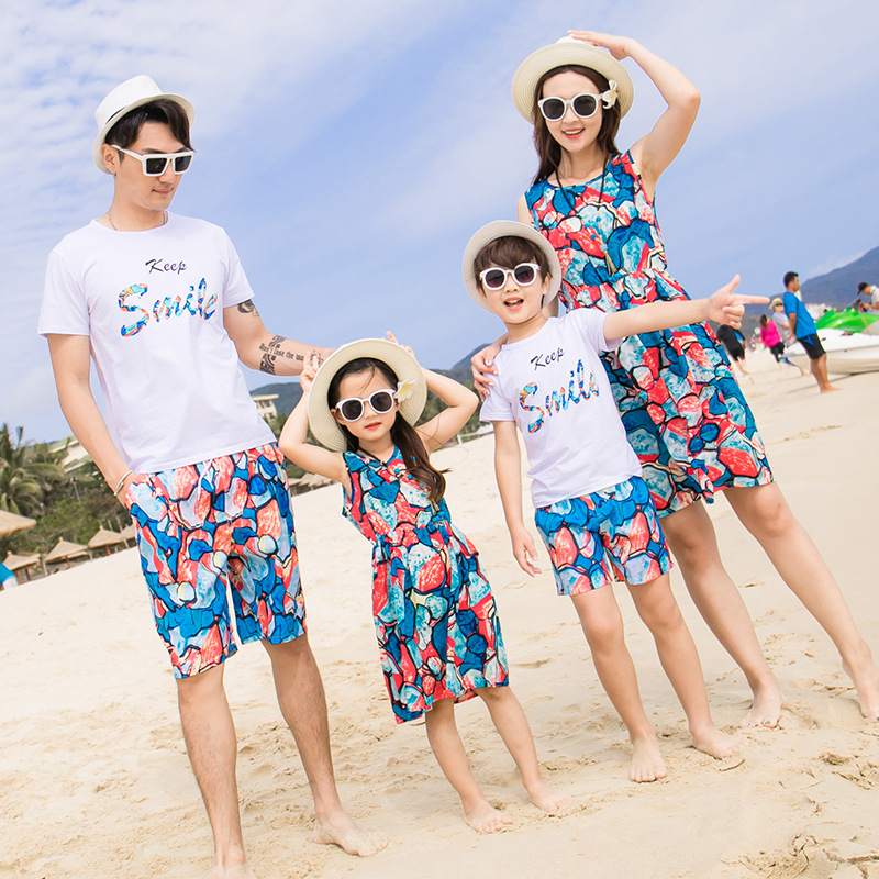 b99471e860 Family Matching Set Mother Daughter Summer Vocation Beach Chiffon Dresses  Dad Son T-shirt +Short Pants Couple Holiday Clothing