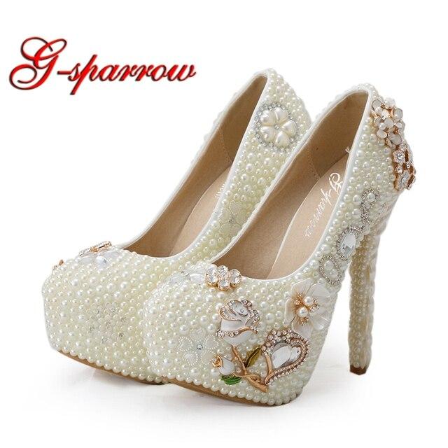 2268aa6bf Customized Luxury Diamond Rhinestone High Heels Women Wedding Shoes Ivory Pearl  Bridal Platforms Adult Ceremony Party Shoes