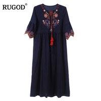 RUGOD Vintage Maxi Embroidery Ethnic dress Women Fashion v neck Half Sleeve Summer Beach Party Dress Female vestidos de festa