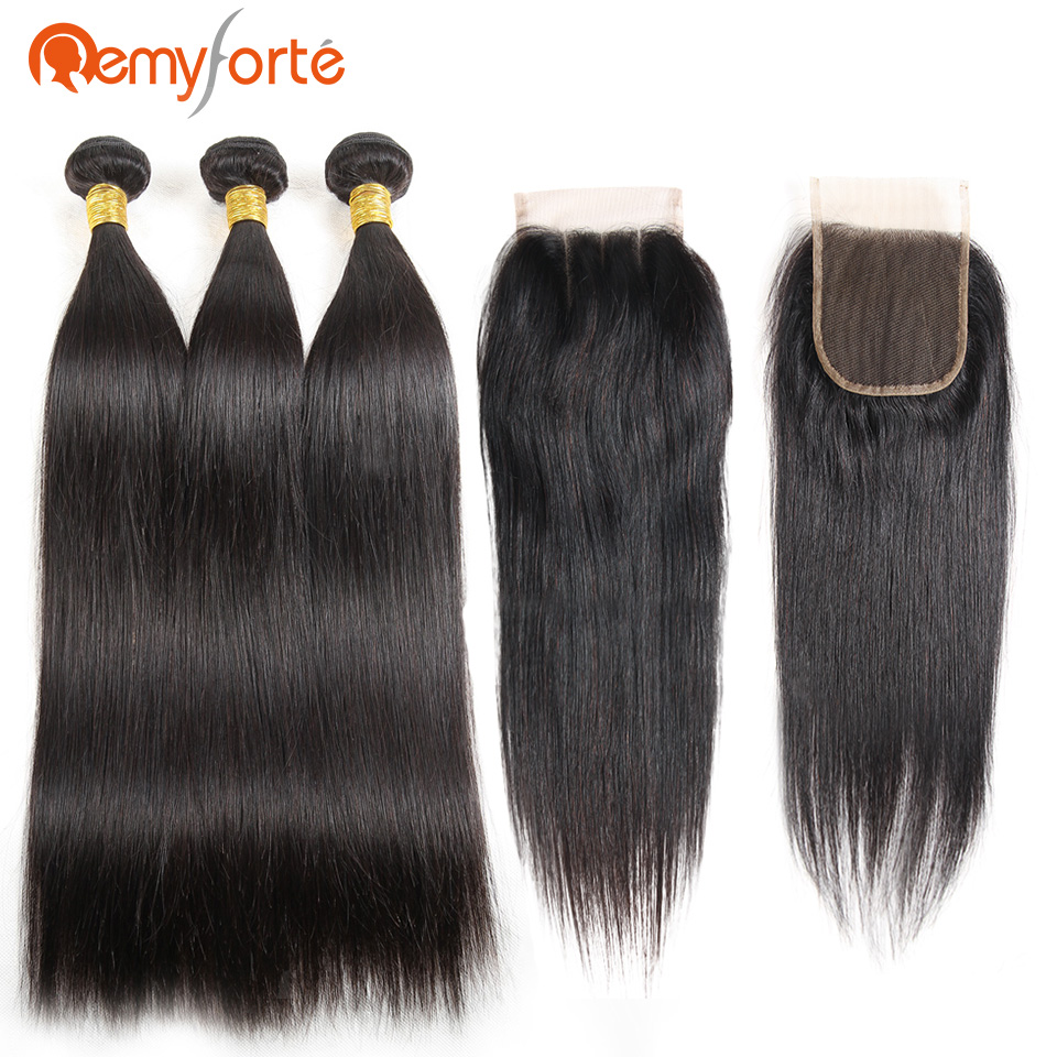 Remy Forte Human Hair Extension Raw Indian Straight Hair Bundles With Closure 3 Bundles With Closure