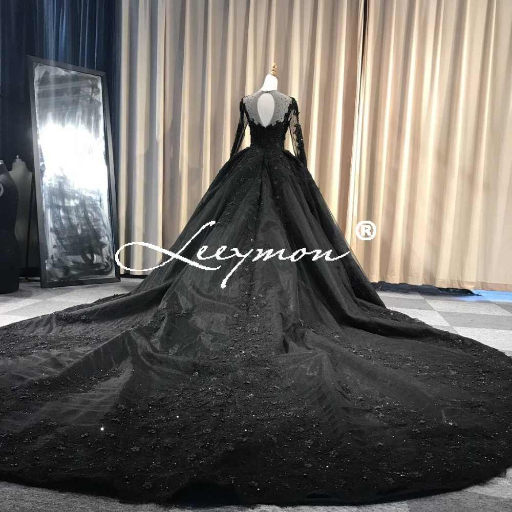 2019 Vintage Black Wedding Dress Long Train Ball Gown Full Sleeves