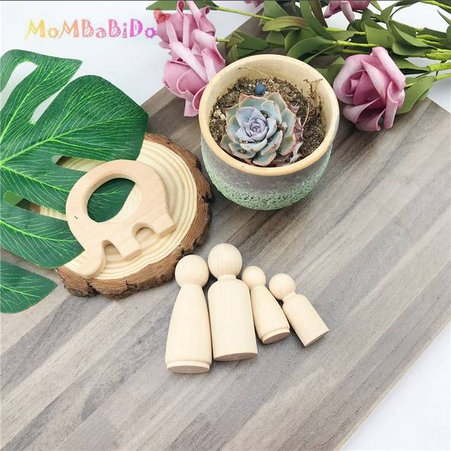 Samll Family 4Pcs Unfinished Wooden Peg Dolls People Peg Dolls Kids DIY  Waldorf Toy Blocks Educational Toy for Children Gifts